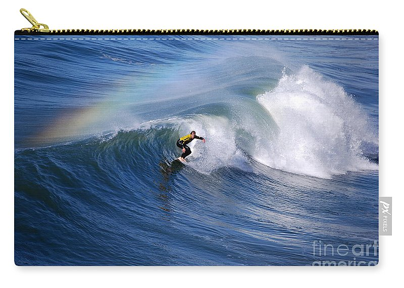 Rainbow Carry-all Pouch featuring the photograph Surfing Under A Rainbow by Catherine Sherman