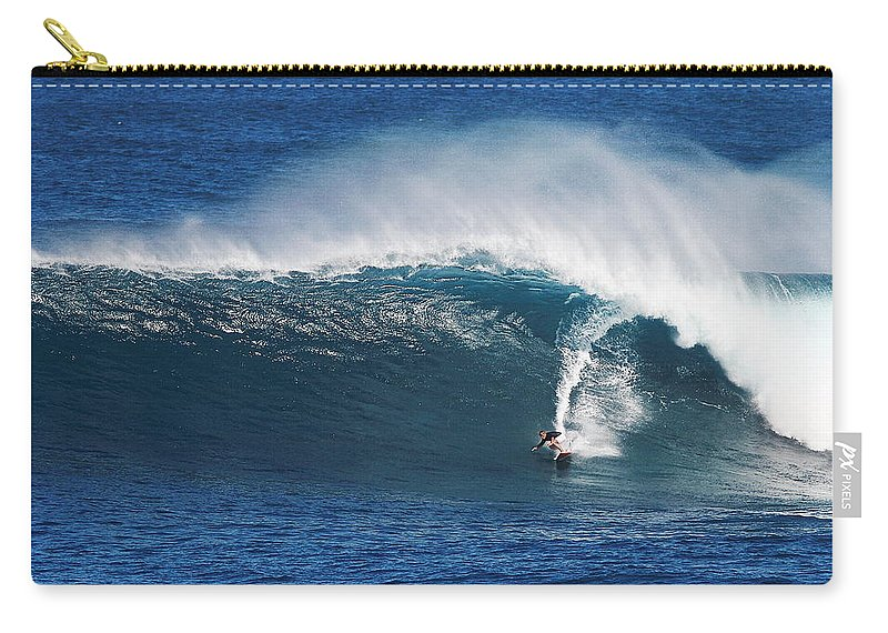 Surfing Waimea Bay Carry-all Pouch featuring the photograph Surfing Waimea Bay by Richard Cheski