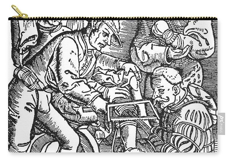 1540 Carry-all Pouch featuring the photograph Surgeon Performing An Amputation. Woodcut From An Edition Of Hans Von Gersdoffs Feldtbuch Der Wundartzney, Strassburg, 1540 by Granger