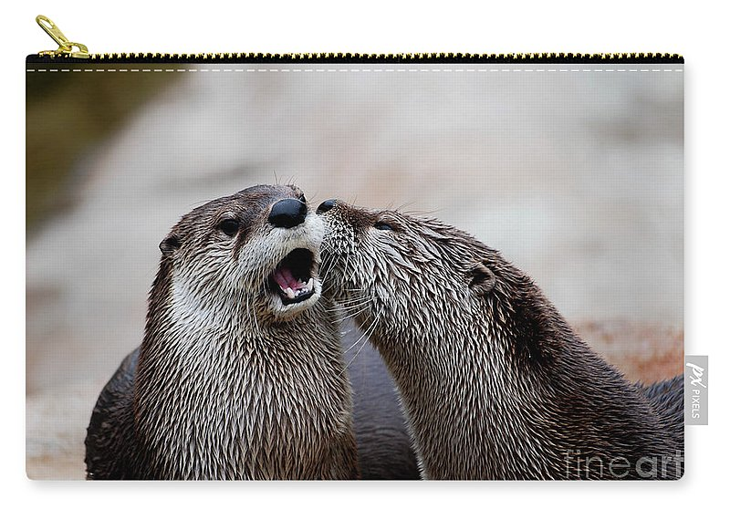Otter Carry-all Pouch featuring the photograph Surprise Kiss by Lori Tambakis