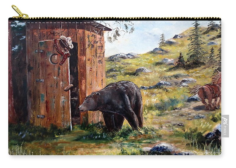 Bear Carry-all Pouch featuring the painting Surprise Visit by Lee Piper
