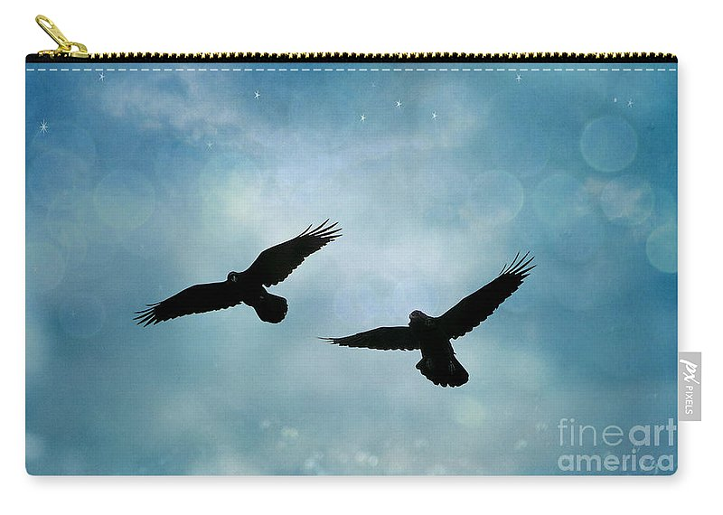 Ravens Crows Nature Carry-all Pouch featuring the photograph Surreal Ravens Crows Flying Blue Sky Stars by Kathy Fornal