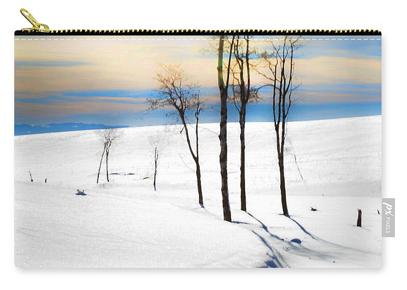 Snowscape Carry-all Pouch featuring the photograph Surreal Snowscape by Theresa Tahara