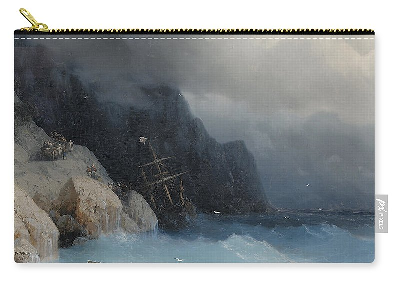 Carry-all Pouch featuring the painting Survivors Of A Shipwreck On A Rocky Path by Viktor Birkus