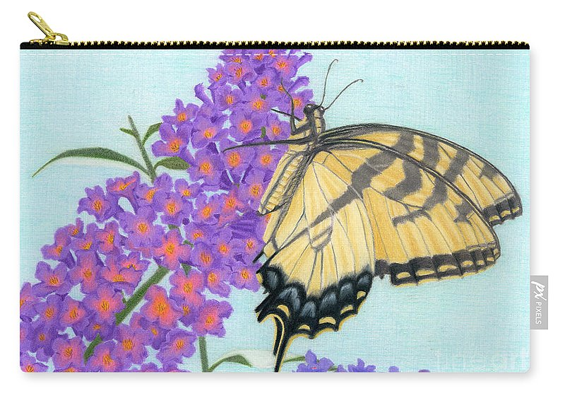 Sarah Batalka Carry-all Pouch featuring the painting Swallowtail Butterfly And Butterfly Bush by Sarah Batalka