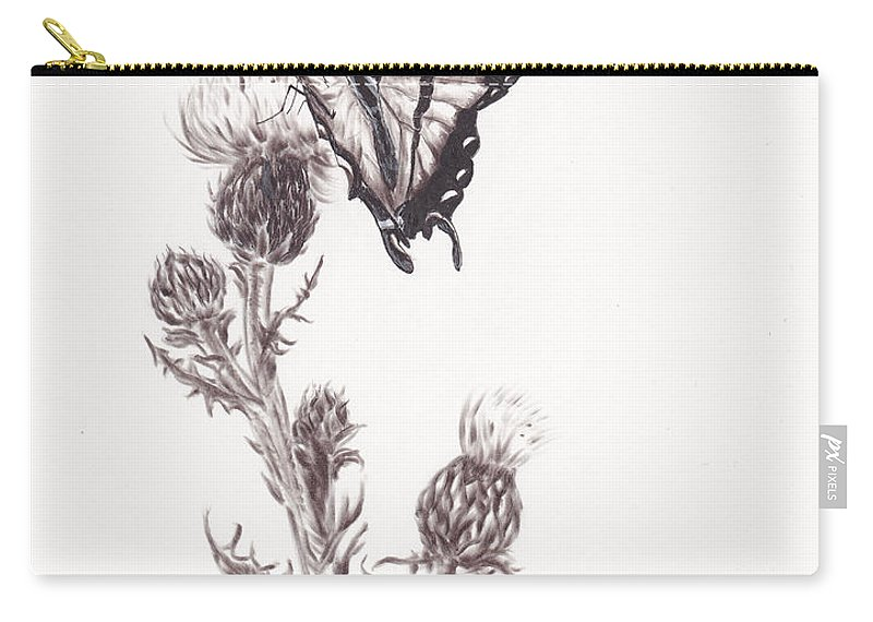 Swallowtail Carry-all Pouch featuring the drawing Swallowtail Butterfly by Heather Stinnett