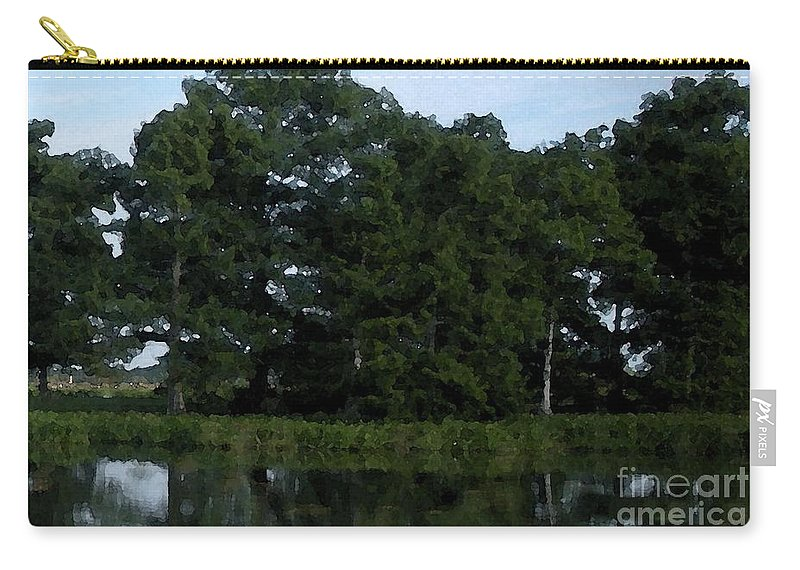 Cypress Trees Carry-all Pouch featuring the photograph Swamp Cypress Trees Digital Oil Painting by Joseph Baril