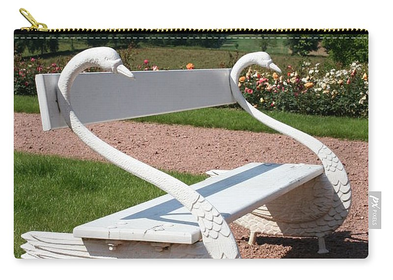 Swan Carry-all Pouch featuring the photograph Swan Bench by Christiane Schulze Art And Photography
