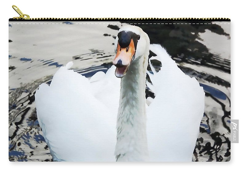 Swan Carry-all Pouch featuring the digital art Swan Honk Honk by Cathy Anderson