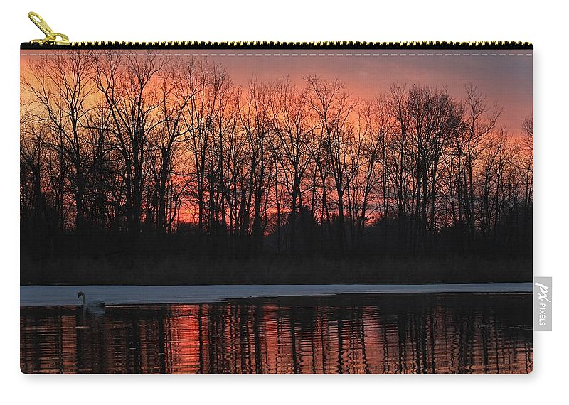Swan Carry-all Pouch featuring the photograph Swan Lake by Michael J Samuels