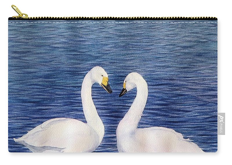 Swans Carry-all Pouch featuring the painting Swan Love by Sharon Farber
