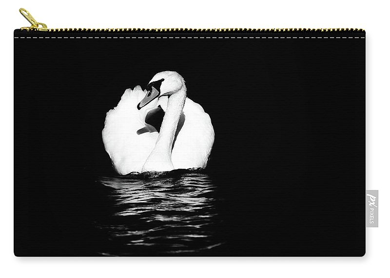 Swan Carry-all Pouch featuring the photograph Swan White On Black by Karol Livote