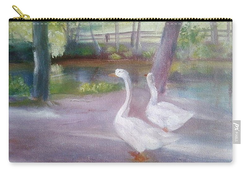 Swans Carry-all Pouch featuring the painting Swans At Smithville Park by Sheila Mashaw