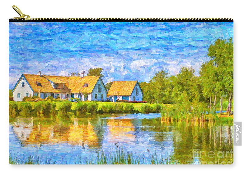 Torekov Carry-all Pouch featuring the painting Swedish Lakehouse by Antony McAulay