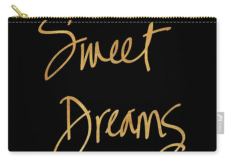 Sweet Carry-all Pouch featuring the mixed media Sweet Dreams On Black by South Social Studio