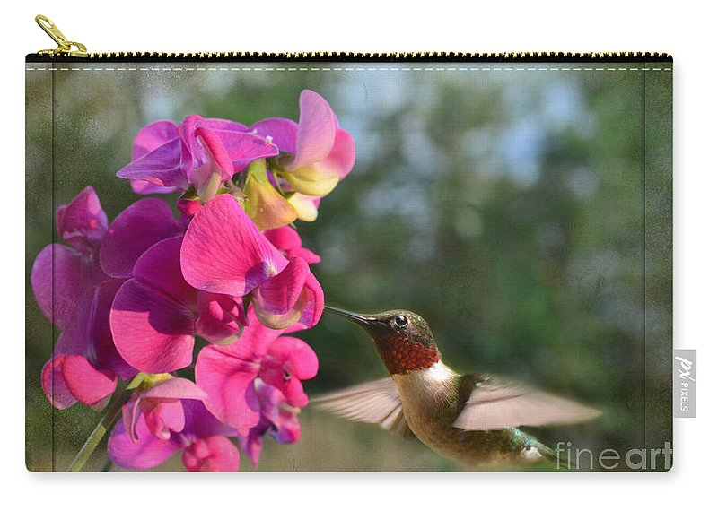 Nature Carry-all Pouch featuring the photograph Sweet Pea Hummingbird II by Debbie Portwood