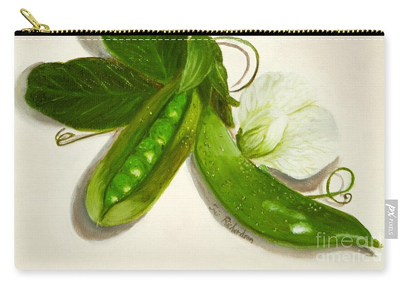 Pea Carry-all Pouch featuring the painting Pea Pods by Iris Richardson
