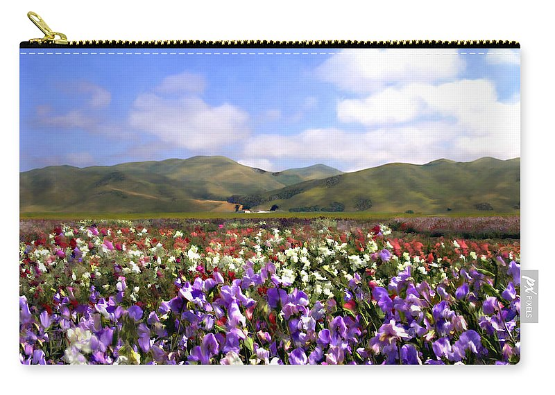 Flowers Carry-all Pouch featuring the photograph Sweet Peas Galore by Kurt Van Wagner