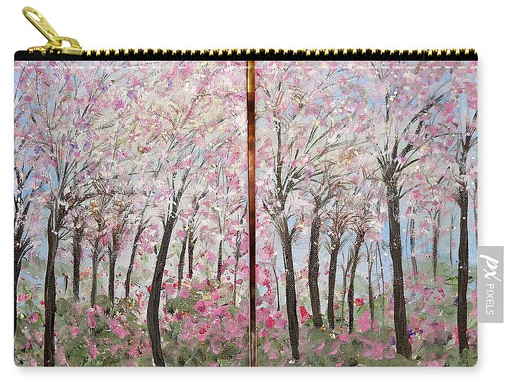 Whimsical Landscape Carry-all Pouch featuring the painting Sweet Sister by Sara Credito