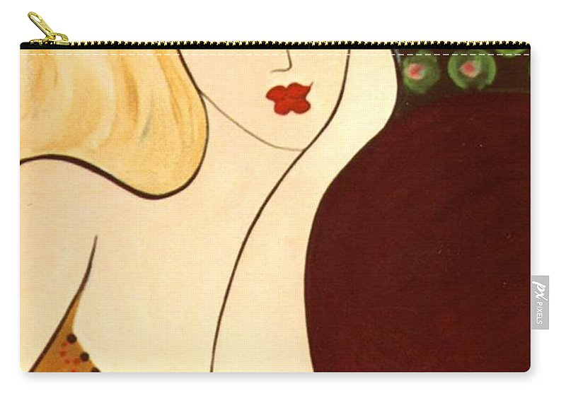 #female Carry-all Pouch featuring the painting Sweet Sixteen by Jacquelinemari
