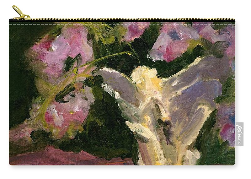 Floral Carry-all Pouch featuring the painting Sweetpeas And Silver by Maria Hunt