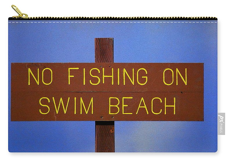 Lake Carry-all Pouch featuring the photograph Swim Beach Sign II by Kathy Sampson