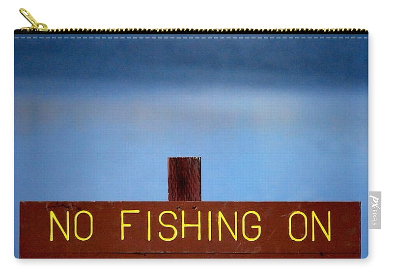 Lake Carry-all Pouch featuring the photograph Swim Beach Sign by Kathy Sampson