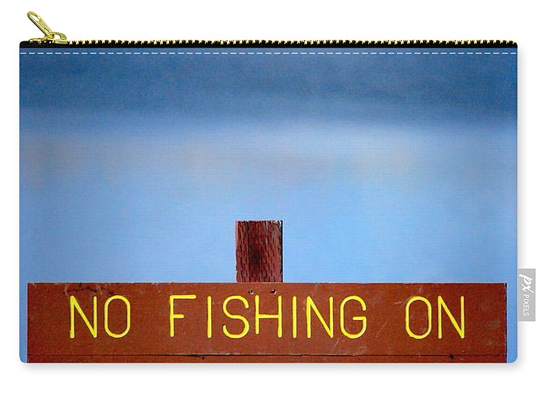 Lake Carry-all Pouch featuring the photograph Swim Beach Sign L by Kathy Sampson
