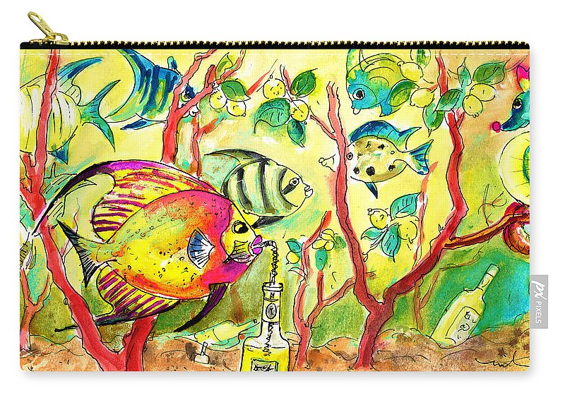 Travel Carry-all Pouch featuring the painting Swimming In A Sea Of Limoncello by Miki De Goodaboom