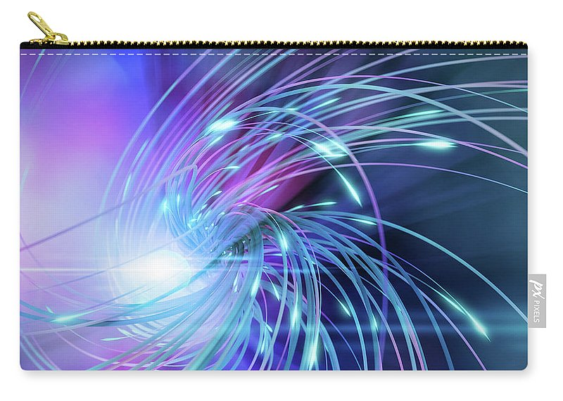 Curve Carry-all Pouch featuring the digital art Swirl Of Lines With Glowing Ends by Maciej Frolow