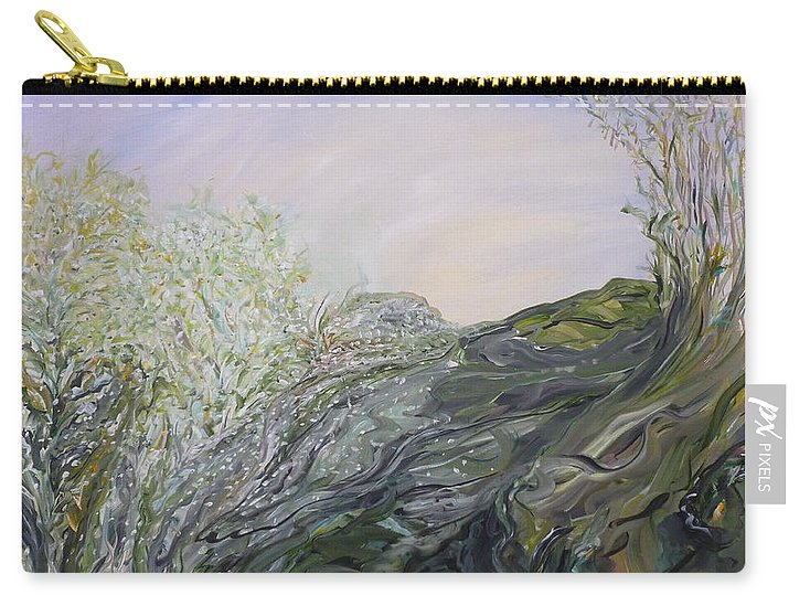 Whimsical Landscape Carry-all Pouch featuring the painting Swirling In Grace by Sara Credito