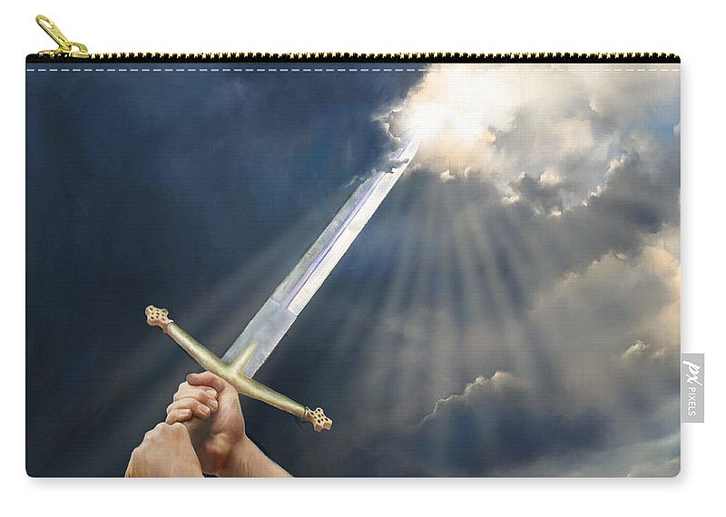 Prophetic Painting Carry-all Pouch featuring the digital art Sword Of The Spirit by Tamer and Cindy Elsharouni