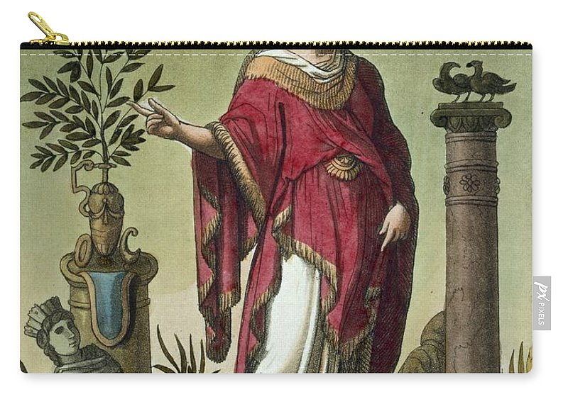 L'antique Rome Carry-all Pouch featuring the drawing Sybil Of Eritrea With Her Insignia, 1796 by Jacques Grasset de Saint-Sauveur