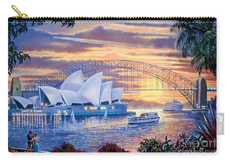 Steve Crisp Carry-all Pouch featuring the digital art Sydney Opera House by MGL Meiklejohn Graphics Licensing