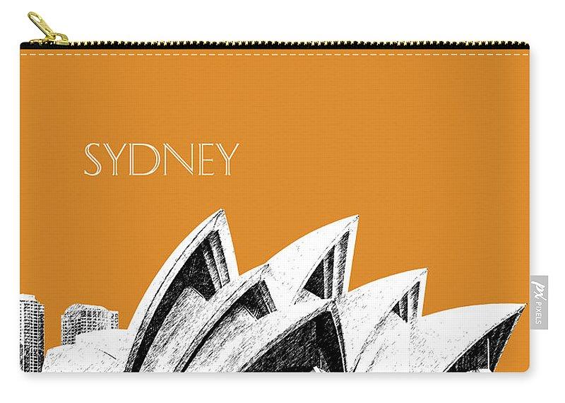 Architecture Carry-all Pouch featuring the digital art Sydney Skyline 3 Opera House - Dark Orange by DB Artist