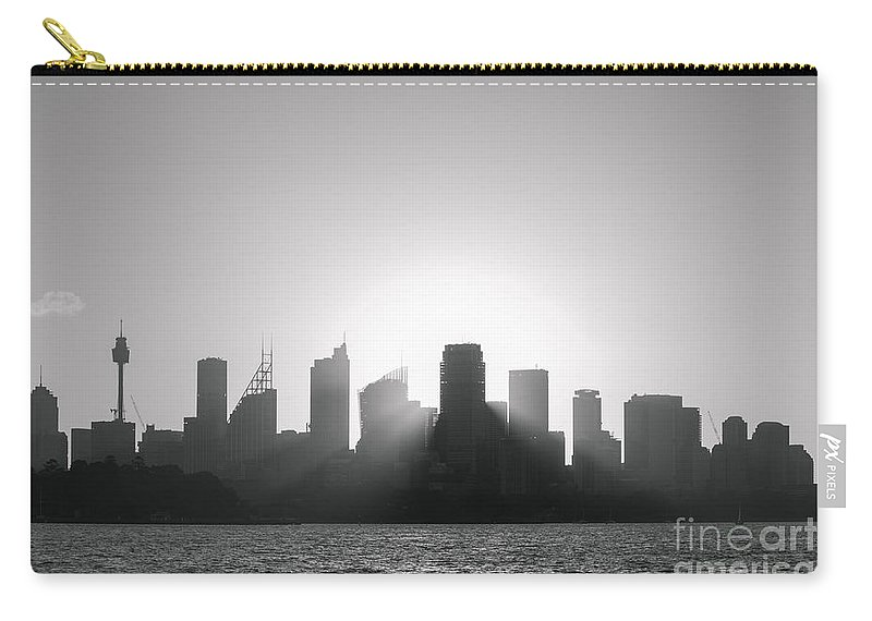 Architecture Carry-all Pouch featuring the photograph Sydney's Evening B/w by Jola Martysz