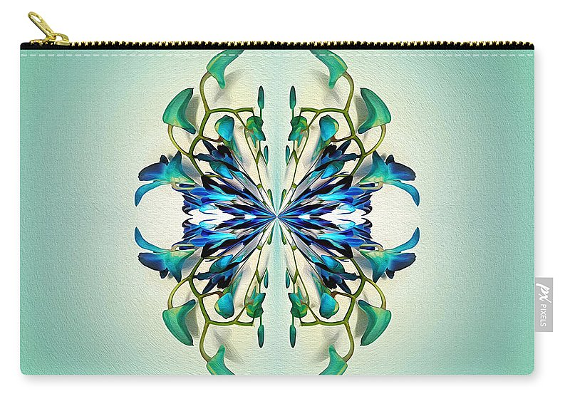 Photography Carry-all Pouch featuring the photograph Symmetrical Orchid Art - Blues And Greens by Kaye Menner