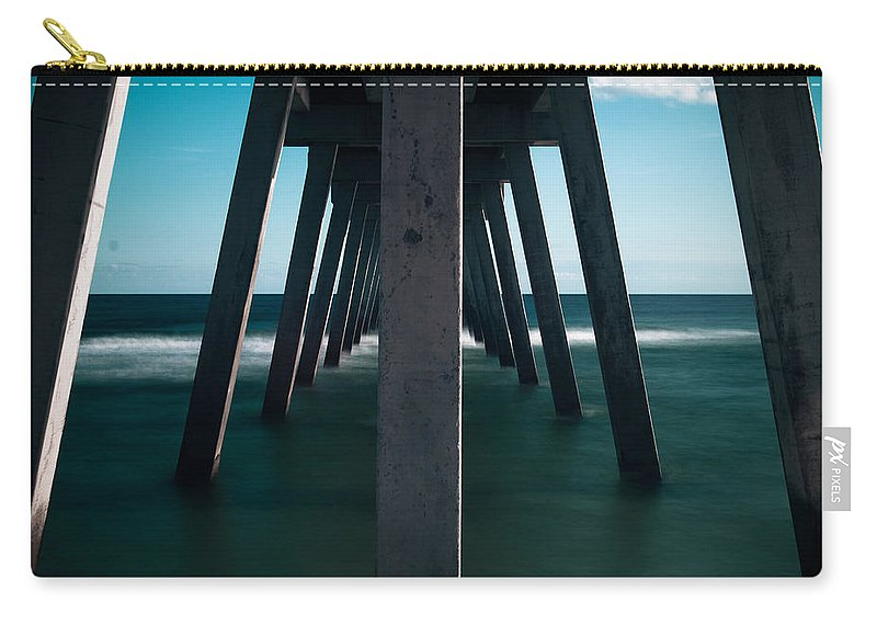 Symmetry Carry-all Pouch featuring the photograph Symmetry Under The Pier by Jon Cody