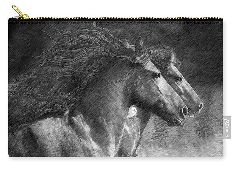 Horse Carry-all Pouch featuring the digital art Synchronicity by Fran J Scott