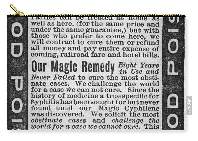 1890s Carry-all Pouch featuring the photograph Syphilis Cure, 1890s by Granger