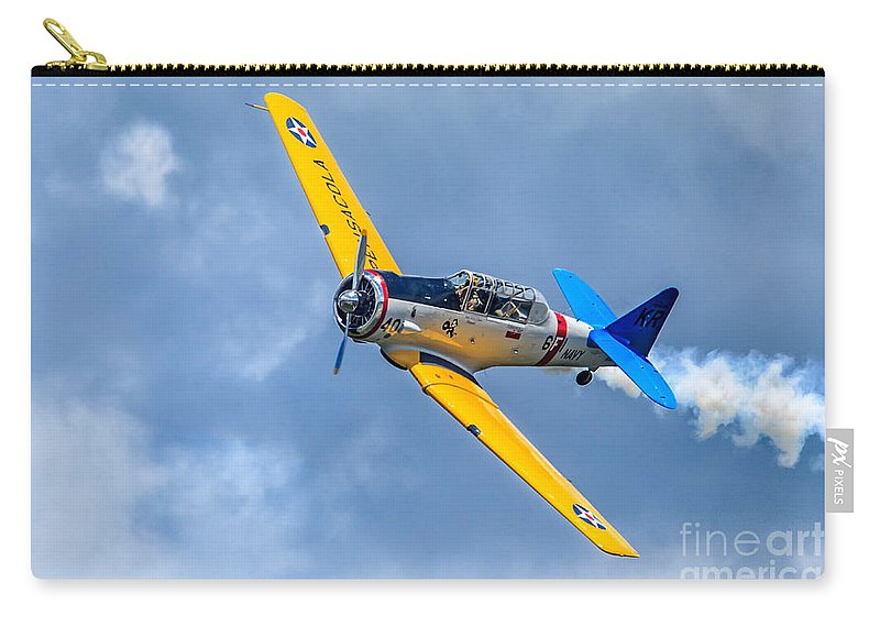 Airlplane Carry-all Pouch featuring the photograph T-6 Texan Flying by Jerry Fornarotto