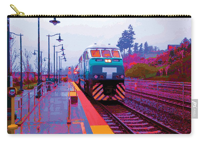 Abstract Carry-all Pouch featuring the digital art T Is For Train by James Kramer