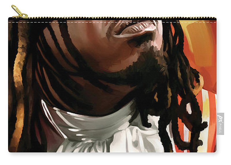 T-pain Paintings Carry-all Pouch featuring the painting T-pain Artwork by Sheraz A