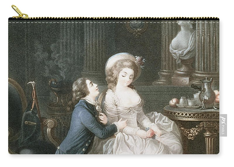 The Lover Is Heard Carry-all Pouch featuring the drawing T.2342 Lamant Ecoute, 1775 by Louis Marin Bonnet