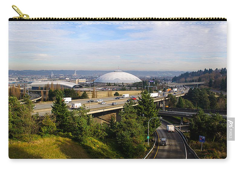 Tacoma Carry-all Pouch featuring the photograph Tacoma Dome And Auto Museum by Tikvah's Hope