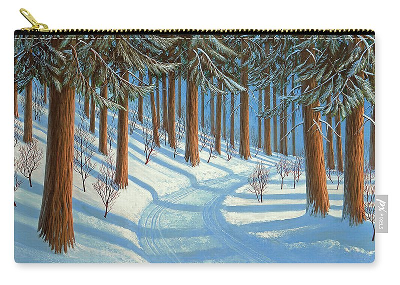 Tahoe Carry-all Pouch featuring the painting Tahoe Forest In Winter by Frank Wilson