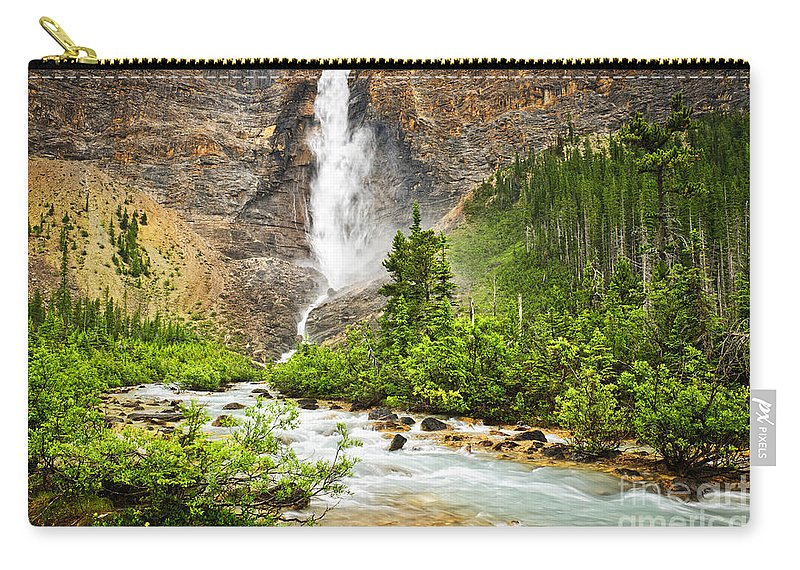 Takakkaw Falls Carry-all Pouch featuring the photograph Takakkaw Falls Waterfall In Yoho National Park Canada by Elena Elisseeva