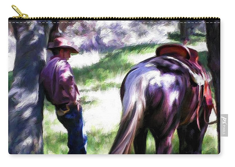 Cowboy Carry-all Pouch featuring the painting Taking A Break by Snake Jagger