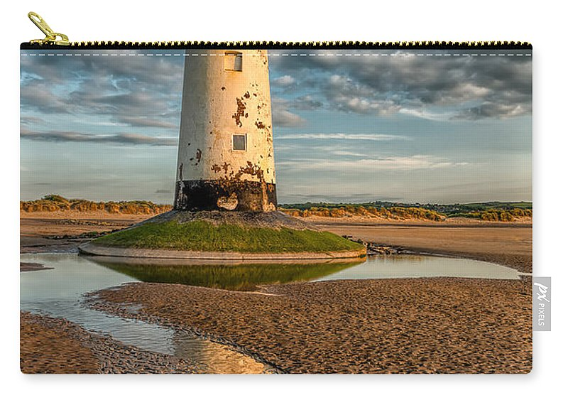 Talacre Carry-all Pouch featuring the photograph Talacre Lighthouse Sunset by Adrian Evans
