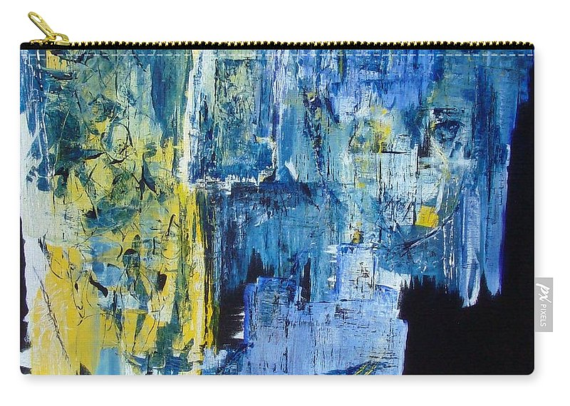Contemporary Carry-all Pouch featuring the painting Tales Of A City by Linda Wimberly